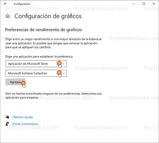 Configuración de gráficos - Aplicación de Microsoft Store