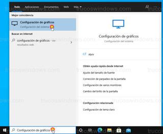 Windows 10 - Configuración de gráficos