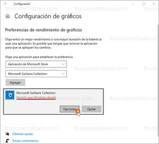 Configuración de gráficos - Permitir que Windows decida