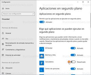 Aplicaciones en segundo plano - Desactivar aplicación