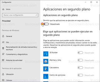 Aplicaciones en segundo plano - Desactivar todas las aplicaciones de segundo plano