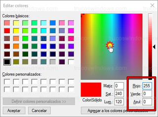 Paint - Editar colores (RGB)