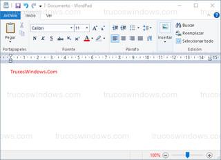 Texto rojo - WordPad