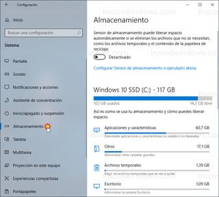 Configuración de Windows - Almacenamiento