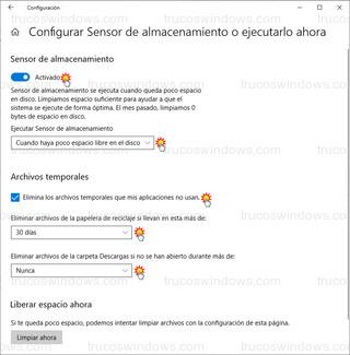 Configurar Sensor de almacenamiento o ejecutarlo ahora - Sensor de almacenamiento y Archivos temporales