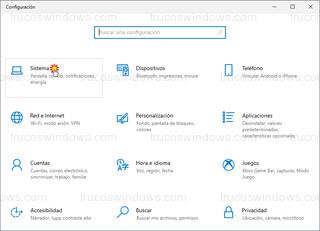 Windows 10 - Configuración - Sistema