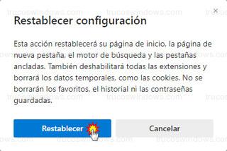 Restablecer configuración - Restablecer