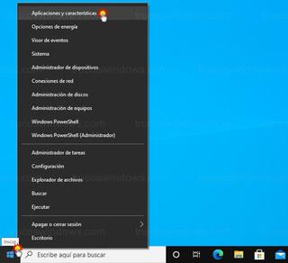 Windows 10 - Aplicaciones y características