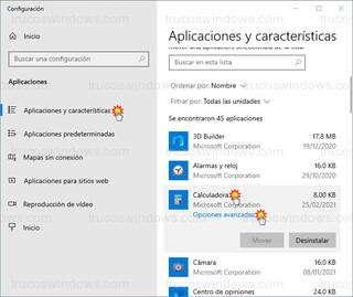 Aplicaciones y características - Opciones avanzadas