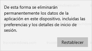 Eliminación de datos - Restablecer