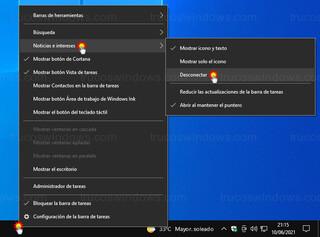 Noticias e intereses - Quitar tiempo de la barra de tareas de Windows 10