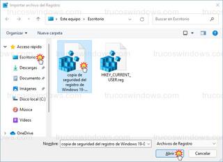 Importar archivo del Registro - Abrir archivo de registro