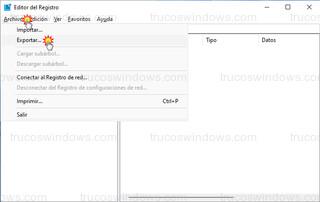 Editor del registro - Archivo > Exportar...