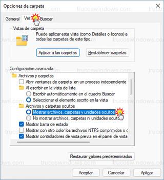 Opciones de carpeta - Mostrar archivos, carpetas y unidades ocultos