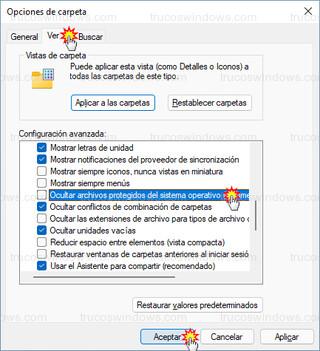 Opciones de carpeta - Ocultar archivos protegidos del sistema operativo