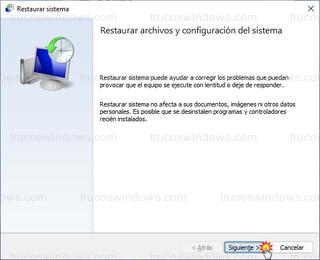 Restaurar sistema - Restaurar archivos y configuración del sistema