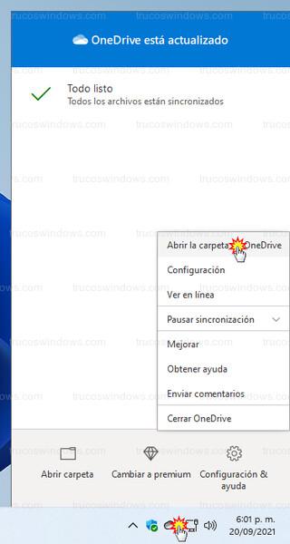 Barra de tareas de Windows 11 - Abrir la carpeta de OneDrive desde el icono