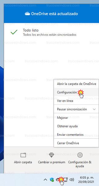 OneDrive - Acceder a configuración de OneDrive