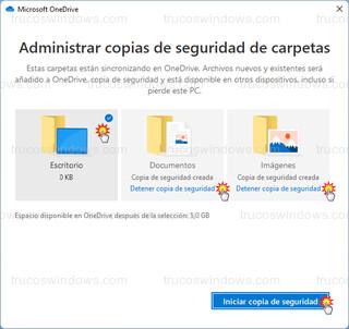 Microsoft OneDrive - Administrar copias de seguridad de carpetas