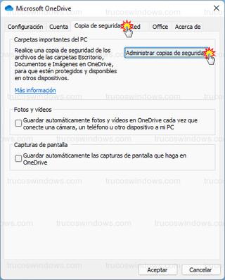 Microsoft OneDrive - Administrar copias de seguridad