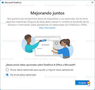 Microsoft OneDrive - Datos opcionales
