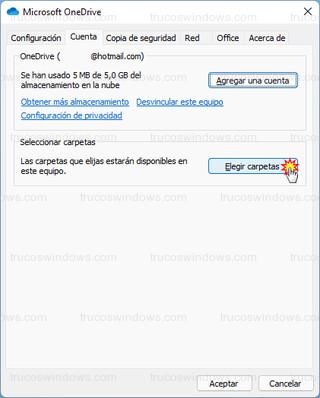 Microsoft OneDrive - Elegir carpetas que se mostraran