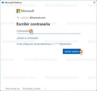 Microsoft OneDrive - Escribir contraseña