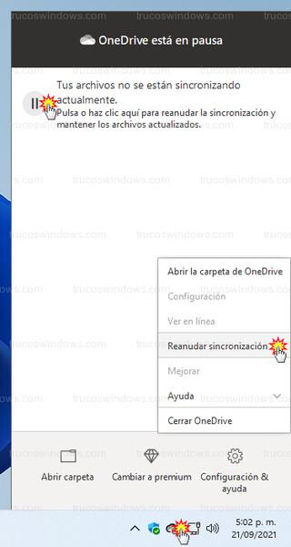 OneDrive - Reanudar sincronización