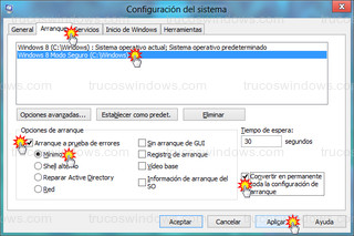 Windows 8 - Arranque (msconfig)