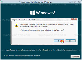 Windows 8 - Cancelar instalación de Windows 8
