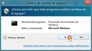Windows 8 - Control de cuentas de usuario (cmd)