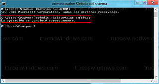 Windows 8 - Quitar arranque por defecto en modo seguro