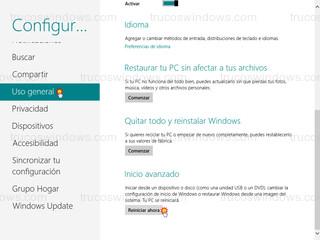 Windows 8 - Reiniciar ahora (inicio avanzado)