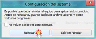 Windows 8 - Reiniciar (configuración del sistema)